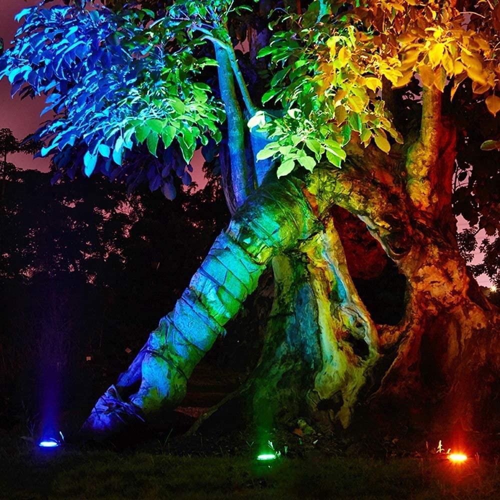 نورپردازی درخت با پروژکتور و چراغ دفنی