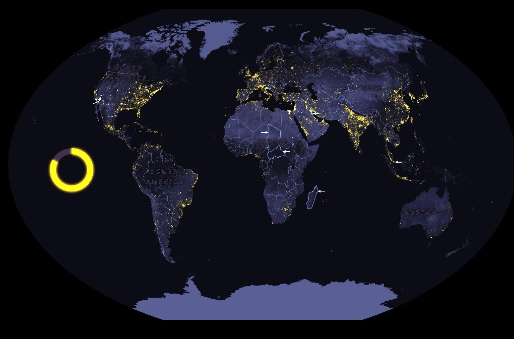 نقشه آلودگی نوری جهان