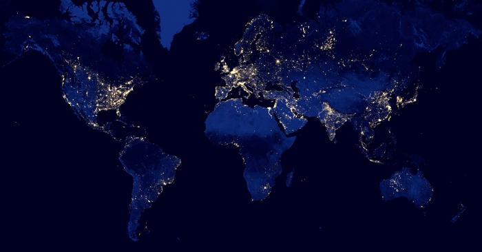 نقشه تاریکی و نور نقاط مختلف جهان در شب